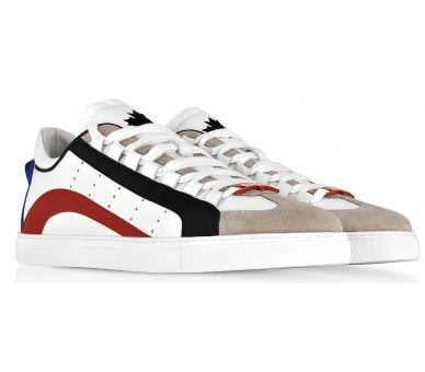 Sneakers Basses Homme en Cuir Blanc avec Détails Multicolores