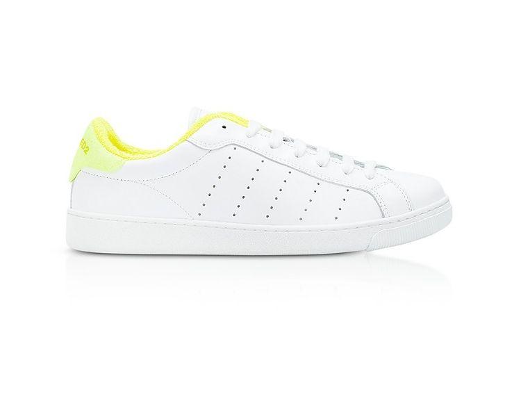 DSQUARED2 Sneakers Basses Femme en Cuir Blanc et Jaune Fluo