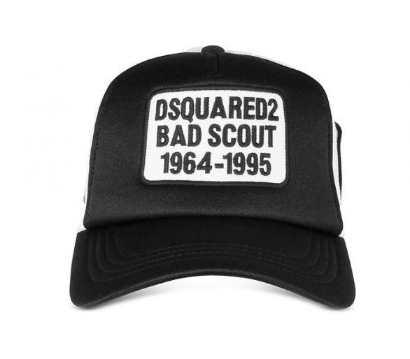 DSQUARED2 Casquette de Baseball en Coton Noir et Blanc avec Patch Bad Scout