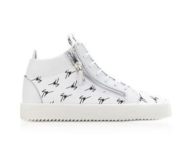 GIUSEPPE ZANOTTI Sneakers Mi-montantes Homme en Cuir Blanc